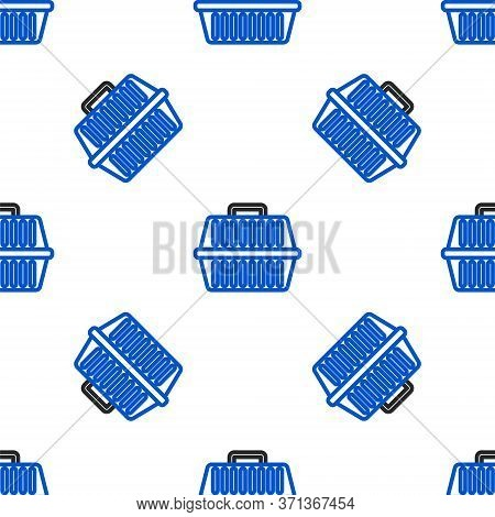 Line Pet Carry Case Icon Isolated Seamless Pattern On White Background. Carrier For Animals, Dog And