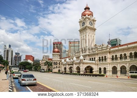 Kuala Lumpur, Malaysia - November 28, 2019: The Sultan Abdul Samad Building Is Located In Front Of T