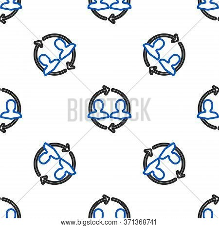 Line Human Resources Icon Isolated Seamless Pattern On White Background. Concept Of Human Resources
