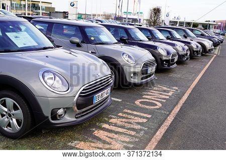 Bordeaux , Aquitaine / France - 02 01 2020 : New Mini Cars Park Outside A Mini Cooper Dealership Sho