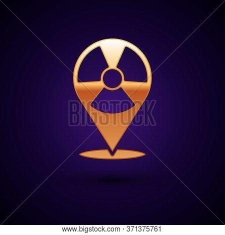 Gold Radioactive In Location Icon Isolated On Black Background. Radioactive Toxic Symbol. Radiation