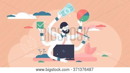 Busy Entrepreneur Vector Illustration. Multitasking Process Flat Tiny Persons Concept. Professional