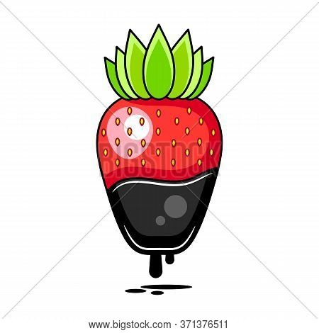 Chocolate Dipped Strawberry - Vector Illustration Suitable For Greeting Card,