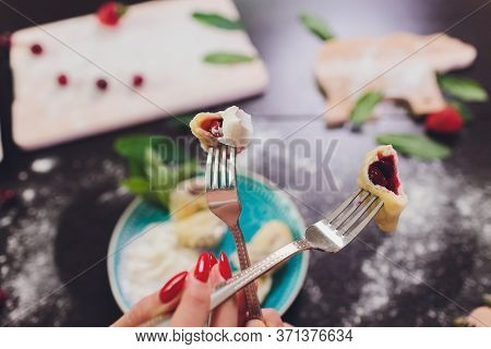 Dumplings, Filled With Strawberries. Varenyky, Vareniki, Pierogi, Pyrohy - Dumplings With Filling. V