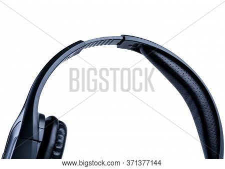 Fragment Of Black Headset. Shadowless Isolated On White Background. Close-up. Small Depth Of Field