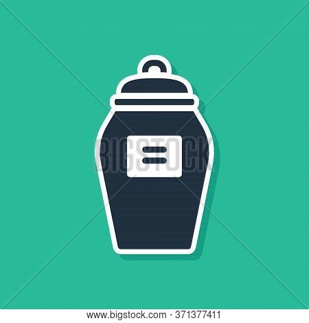 Blue Funeral Urn Icon Isolated On Green Background. Cremation And Burial Containers, Columbarium Vas