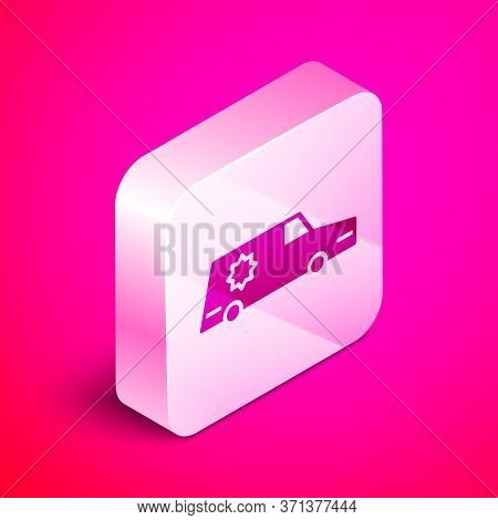 Isometric Hearse Car Icon Isolated On Pink Background. Silver Square Button. Vector