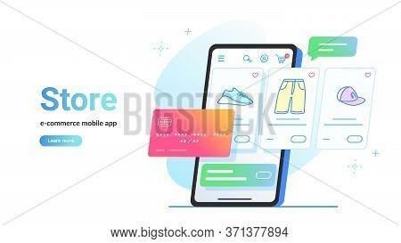 Online Store E-commerce Mobile App. Flat Line Vector Illustration Of Smartphone Screen Online E-stor