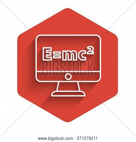 White Line Math System Of Equation Solution On Computer Monitor Icon Isolated With Long Shadow. E Eq