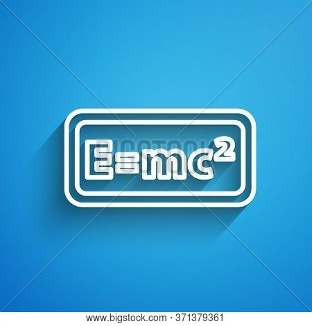 White Line Math System Of Equation Solution Icon Isolated On Blue Background. E Equals Mc Squared Eq