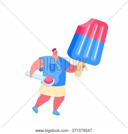 Tiny Male Character With Scoop In Hand Carry Huge Fruit Ice Cream Popsicle On Wooden Stick. Summer T