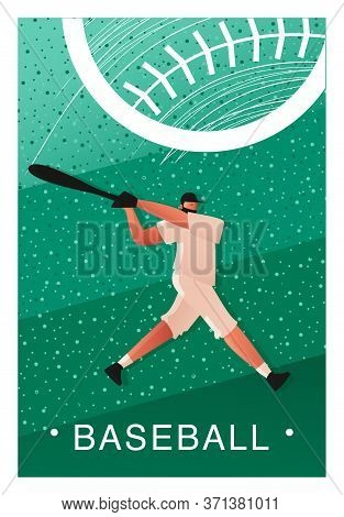 Baseball Template For A Ticket Or Billboard. A Baseball Player Attacks With A Bat. Ticket Or Poster