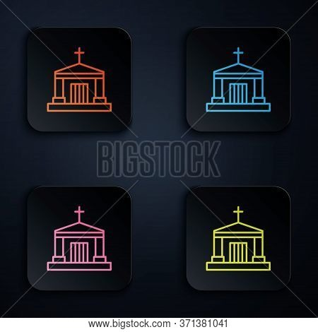 Color Neon Line Old Crypt Icon Isolated On Black Background. Cemetery Symbol. Ossuary Or Crypt For B