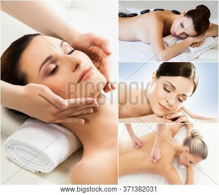 Women Relaxing In Spa Collection. Wellness, Healing, Rejuvenation, Health Care And Aroma Therapy.