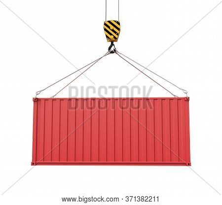 3d Rendering Of Closed Red Cargo Container Suspended From Crane, Isolated On White Background.