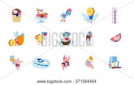 Set Of Male And Female Characters Enjoying Summer Vacation And Holidays Recreation Eating Ice Cream,