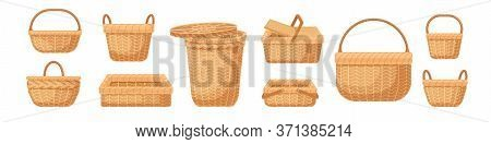 Set Of Various Realistic Empty Wicker Baskets Vector Illustration. Collection Of Straw Handmade Cont