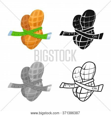 Vector Design Of Peanut And Shell Logo. Set Of Peanut And Pod Stock Symbol For Web.