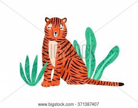 Cute Colorful Wild Tiger Vector Flat Illustration. Amusing Predator Animal Sitting In Tropical Plant