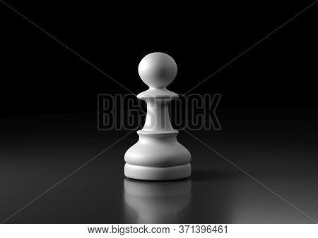 White Pawn Chess, Standing Against Black Background. Chess Game Figurine. Leader Success Business Co