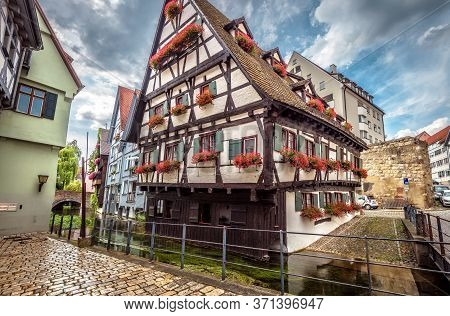 Crooked House In Ulm City, Germany. It Is Landmark Of Ulm Located In Old Fisherman`s Quarter. Swabia