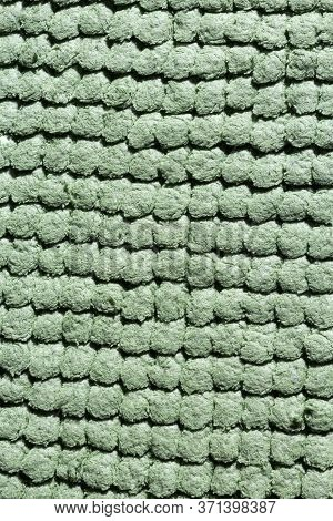 Microfiber Texture With A Soft Large Pile. Top View Texture Of Light Green Big Microfiber Fabric Tow
