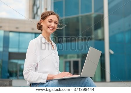 Businesswoman Successful Woman Business Person Outdoor Corporate Building Exterior With Laptop Pensi