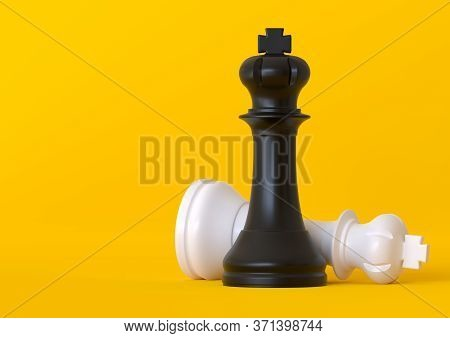 Black And White King Chess Piece Isolated On Pastel Yellow Background. Chess Game Figurine. Chess Pi