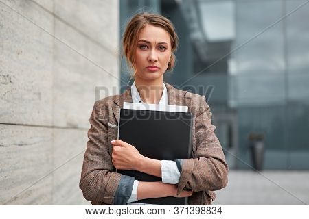 Businesswoman Successful Woman Business Person Standing Outdoor Corporate Building Exterior Pensive