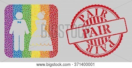Grunge Pair Stamp Seal And Mosaic Wedding Pair Hole For Lgbt. Dotted Rounded Rectangle Mosaic Is Aro