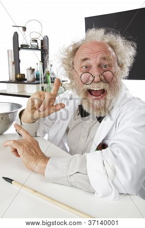 Eccentic Scientist In Lab Excited About Ideas