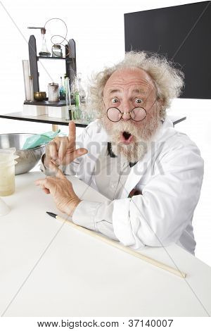 Eccentic Scientist In Lab With Pointer Gestures Excitedly