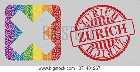 Distress Zurich Stamp Seal And Mosaic X-cross Hole For Lgbt. Dotted Rounded Rectangle Mosaic Is Arou