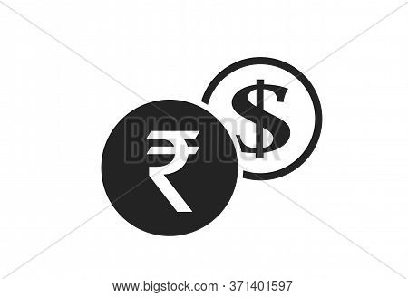 Indian Rupee To Dollar Currency Exchange Icon. Money Exchange And Banking Transfer Symbol
