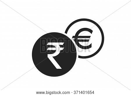 Indian Rupee To Euro Currency Exchange Icon. Money Exchange And Banking Transfer Symbol