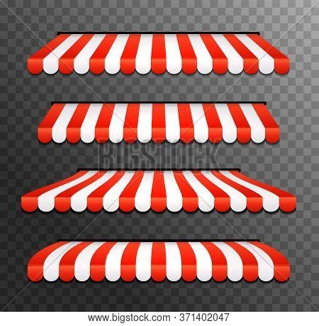 Store Awning Shop Canopy. Store Tent Red Striped Roof Front View. Restaurant, Grocery Or Cafe Awning