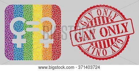 Distress Gay Only Stamp Seal And Mosaic Lesbian Relation Symbol Subtracted For Lgbt. Dotted Rounded