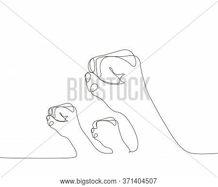 A Lot Of Fists Hands Up Vector Illustration. Concept Of Unity, Revolution, Fight, Cooperation. Line