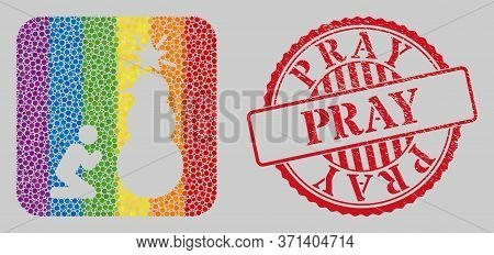 Distress Pray Stamp Seal And Mosaic Pray To Holy Snowman Hole For Lgbt. Dotted Rounded Rectangle Mos