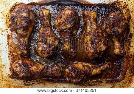 Cooking Baked Authentic Spicy Jamaican Jerk Chicken Legs In Oven Using Casserole Dish