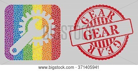 Grunge Gear Stamp Seal And Mosaic Repair Gear Stencil For Lgbt. Dotted Rounded Rectangle Mosaic Is A