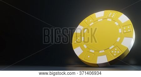 Casino Chips Isolated On The Black Background. Casino Game 3d Chips. Online Casino Banner. Yellow Ch