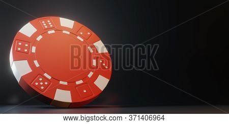 Casino Chips Isolated On Black Background. Casino Game 3d Chips. Online Casino Banner. Red Chip. Gam