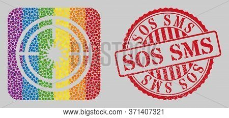 Distress Sos Sms Stamp Seal And Mosaic Target Virus Stencil For Lgbt. Dotted Rounded Rectangle Colla
