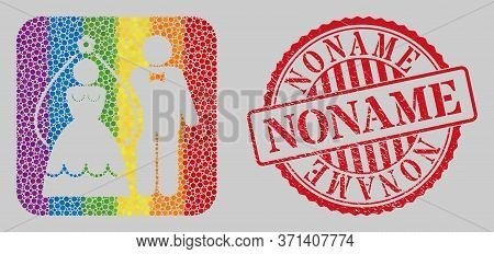 Scratched Noname Stamp Seal And Mosaic Newlyweds Subtracted For Lgbt. Dotted Rounded Rectangle Mosai