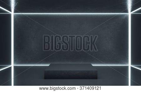 Contemporary Gallery Interior With Blank Gray Concrete Wall And Podium. Gallery, Advertisement, Pres