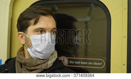 Corona Virus. Man In Face Mask Covid-19. Subway Station. Epidemic Coronavirus Mers. Pandemic Flu. Hu
