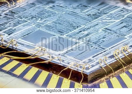 Inside Of A Microchip. Microcontroller Silicon Crystal. Close Up.
