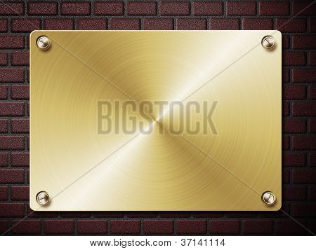 Gold Plate On Brick Wall