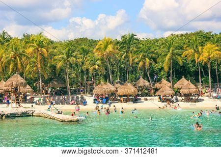 Scenic View To Caribbean Nature Of Xcaret Eco Park Near Mayan Civilization Ruins Archaeological Site